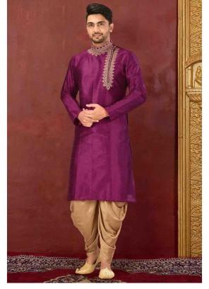 Purple Art Dupion Silk Embroidered Kurta Pyjama