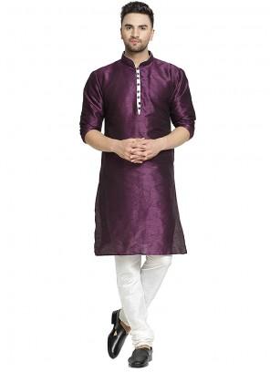 Purple Art Dupion Silk Plain Kurta Pyjama