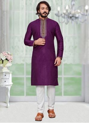 Purple Art Silk Ceremonial Kurta Pyjama