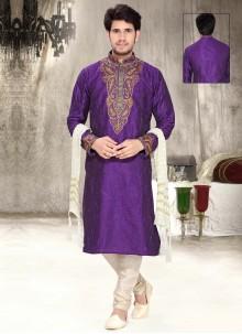 Purple Art Silk Kurta Pyjama