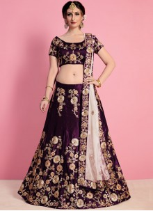 Purple Art Silk Lehenga Choli