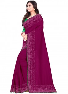 Purple Art Silk Reception Designer Saree