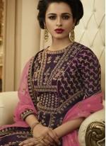 Purple Art Silk Wedding Floor Length Anarkali Suit