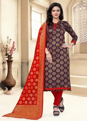 Purple Banarasi Silk Churidar Suit