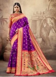 Purple Banarasi Silk Contemporary Saree