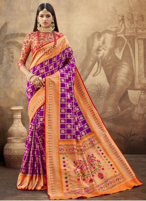 Purple Banarasi Silk Engagement Designer Saree