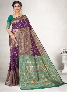 Purple Jacquard Silk Casual Saree