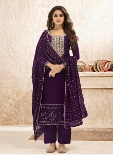 Purple Ceremonial Faux Georgette Designer Straight Suit