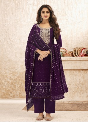 Purple Ceremonial Faux Georgette Designer Straight Suit