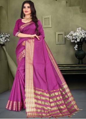Purple Weaving Zari Work Classic Saree