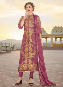Purple Color Designer Straight Suit