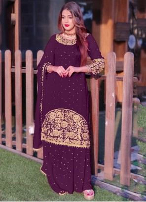 Purple Color Long Choli Lehenga