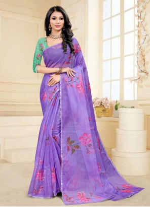 Purple Color Fancy Fabric Printed Saree