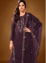 Purple Cotton Lawn Embroidered Designer Pakistani Salwar Suit