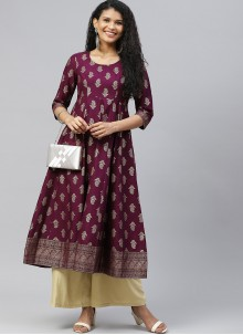 Purple Cotton Print Designer Kurti