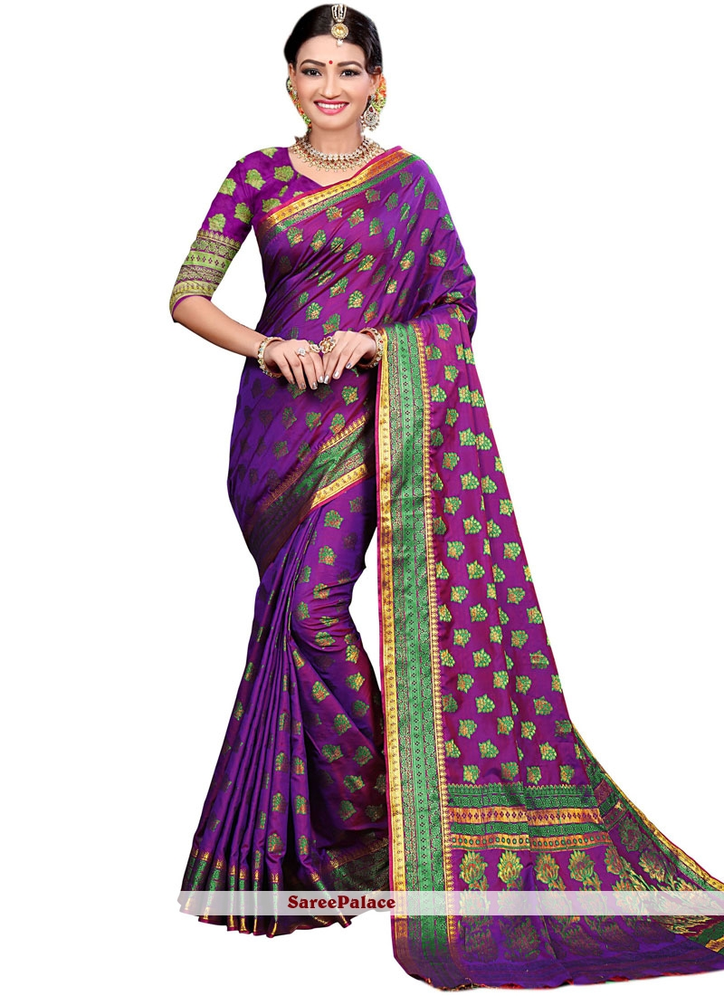 Purple Cotton Silk Traditional Designer Saree