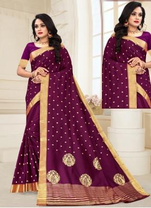 Purple Weaving Zari Designer Traditional Saree