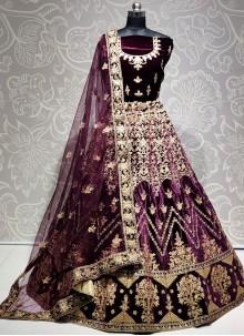 Purple Diamond Velvet Lehenga Choli