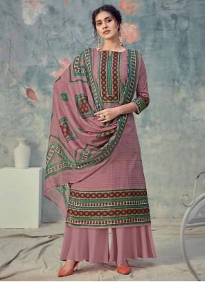 Purple Digital Print Ceremonial Designer Palazzo Suit