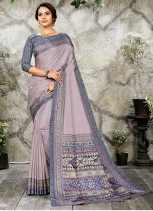 Purple Digital Print Silk Casual Saree