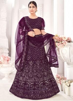 Purple Embroidered A Line Lehenga Choli