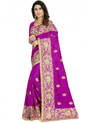 Purple Embroidered Classic Designer Saree