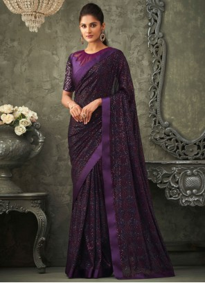 Purple Embroidered Sequins Classic Saree