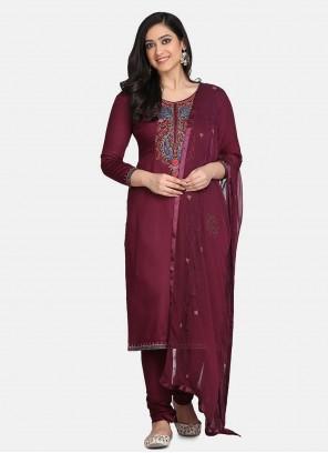 Purple Embroidered Cotton Designer Suit