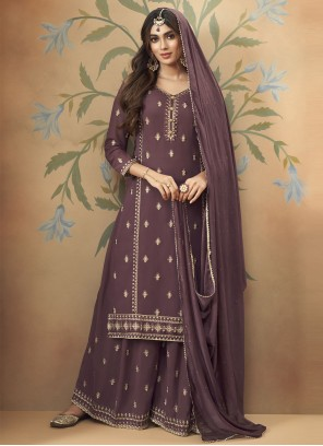 Purple Embroidered Designer Palazzo Suit