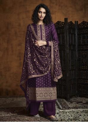 Purple Embroidered Designer Palazzo Suit