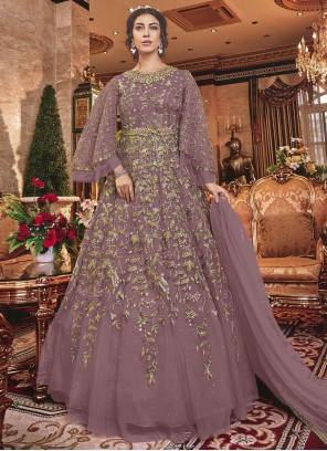 Purple Embroidered Designer Salwar Kameez