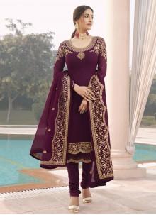 Purple Embroidered Designer Straight Suit