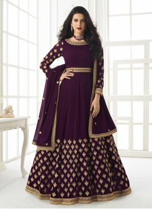 Purple Embroidered Faux Georgette Floor Length Anarkali Suit