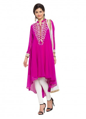 Purple Embroidered Faux Georgette Readymade Salwar Kameez