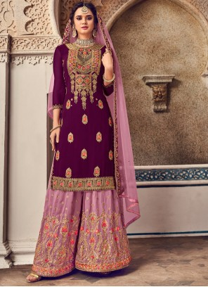 Purple Embroidered Faux Georgette Salwar Suit