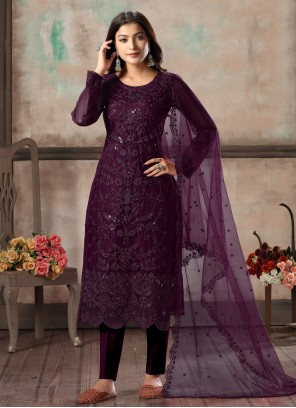 Purple Embroidered Festival Pant Style Suit