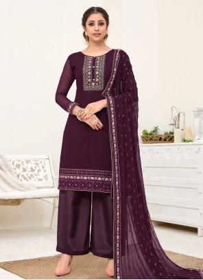 Purple Embroidered Festival Salwar Kameez