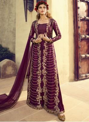 Purple Embroidered Floor Length Anarkali Suit
