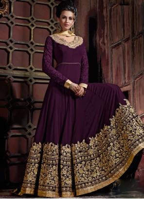 Purple Embroidered Mehndi Anarkali Salwar Kameez