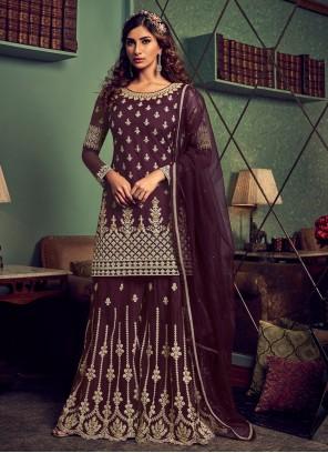 Purple Embroidered Net Palazzo Designer Salwar Suit