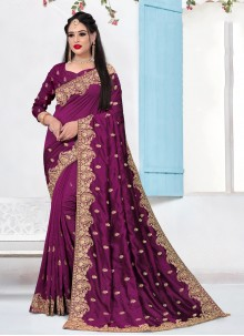 Purple Embroidered Party Contemporary Saree