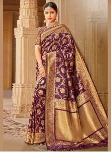 Purple Embroidered Party Traditional Saree