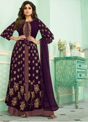 Purple Embroidered Salwar Suit