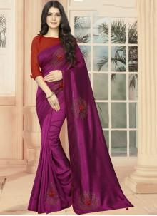 Purple Embroidered Silk Casual Saree