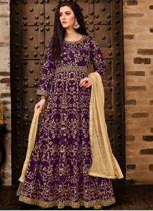 Purple Embroidered Tafeta Silk Anarkali Salwar Suit