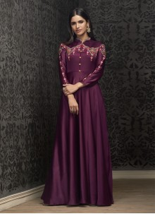 Purple Embroidered Tafeta Silk Readymade Gown