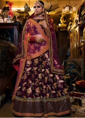 Purple Embroidered Wedding Lehenga Choli