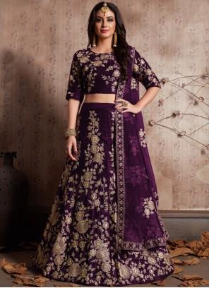 Purple Embroidered Work Velvet Lehenga Choli