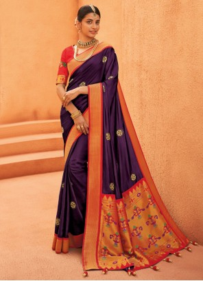 Purple Engagement Silk Designer Saree