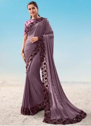 Purple Fancy Fabric Ceremonial Classic Saree